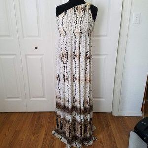 Boston Proper white and brown maxi dress